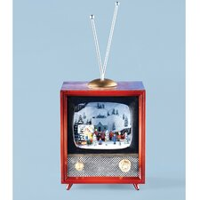 Musical TV Figurine with Rotating Train