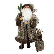 <strong>Roman, Inc.</strong> Santa Figurine with Tweed Bag
