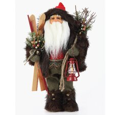 Woodsy Santa Figurine with Skis and Red Lantern