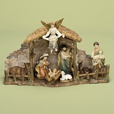 9 Piece Nativity Set with Stable