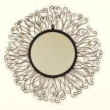 Round Metal Mirror with Rays