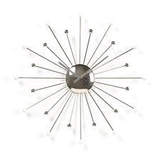 Starburst Wall Clock in Shiny Silvertone