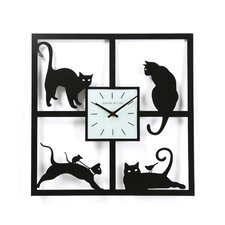 "15.5"" Four Cats Wall Clock"