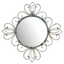 Round Metal Verdegris Wall Mirror