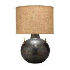 """2 Handled Kettle 25"""" H Table Lamp with Drum Shade"""