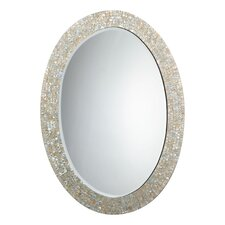 "43.5"" H x 31.5"" W Oval Mother of Pearl Mirror"