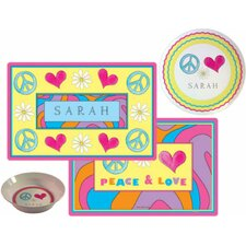 The Kids Tabletop Peace Love Eat Place Setting (Set of 3)