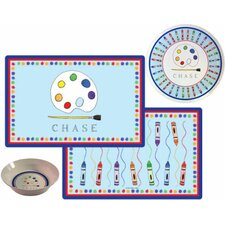 Kids Tabletop Little Artist Plate and Placemat Set