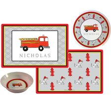 The Kids Tabletop Firetruck Place Setting (Set of 3)