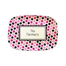 "Everyday Tabletop 14"" Pink and Black Dots Rectangular Platter"