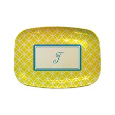 "Everyday Tabletop 14"" Yellow Clover Rectangular Platter"