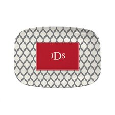 "Everyday Tabletop 14"" Grey Lattice Rectangular Platter"