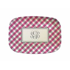 "Everyday Tabletop 14"" Pink Gingham Rectangular Platter"