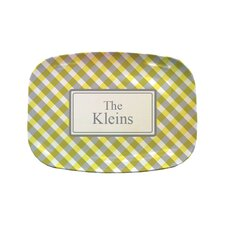 "Everyday Tabletop 14"" Yellow Gingham Rectangular Platter"