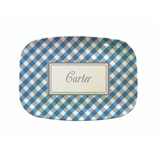 "Everyday Tabletop 14"" Blue Gingham Rectangular Platter"