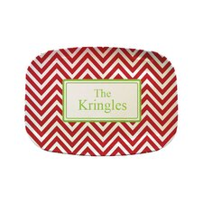 "Everyday Tabletop 14"" Red Green Chevron Rectangular Platter"
