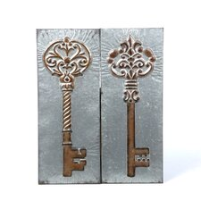 Key Metal Decor (Set of 2)