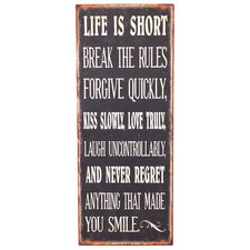 'Life Is Short' Textual Art Plaque
