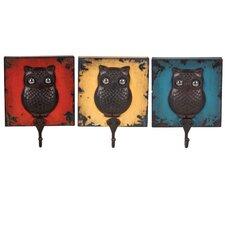 Metal Owl Wall Hook (Set of 3)