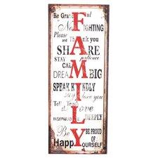 <strong>Wilco</strong> 'Family' Metal Wall Plaque