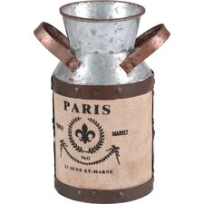Metal Jar with Burlap Wrap