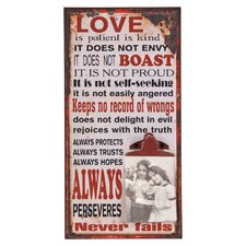 'Love...' Textual Art Plaque