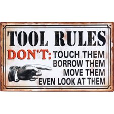 'Tool Rules...' Textual Art Plaque