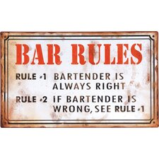 'Bar Rules...' Textual Art Plaque