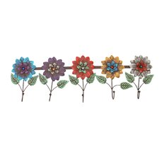 Flowers Metal 5 Wall Hooks