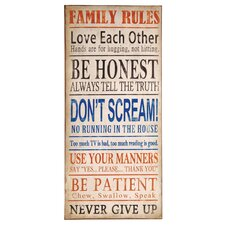 'Family Rules' Metal Wall Plaque