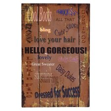 'Hello Gorgeous!' Textual Art Plaque