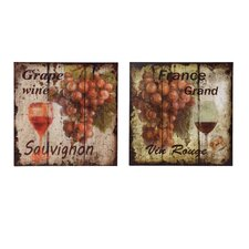 Grapes Vintage Advertisement Plaque (Set of 2)