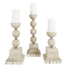 3 Piece Rubberwood Candlestick Set