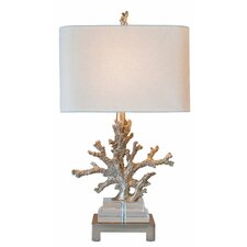 "Coastal Retreat Coral 25.5"" H Table Lamp with Oval Shade"