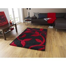 Fashion Carving Black/Red Hand Carved Rug