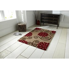 Rosetta Beige/Red Tufted Rug