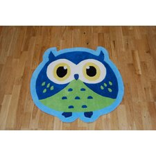 Hong Kong Owl Blue/Green Tufted Kids Rug