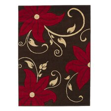 <strong>Think Rugs</strong> Verona Brown/Red Hand Carved Floral Rug
