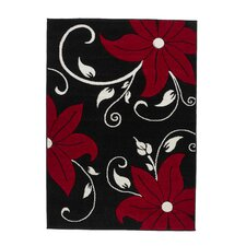 Verona Black/Red Carved Rug