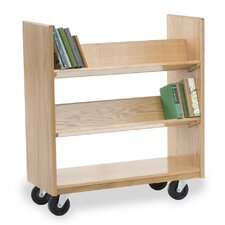 Library Book Cart with 4 Sloping Shelves