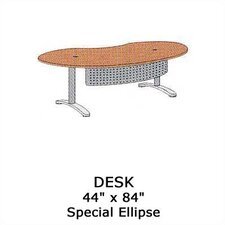 "<strong>Virco</strong> Plateau 84"" W Ellipse Executive Desk with Bi-Point Legs"