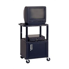 Adjustable Height Audio Visual Cart with Cabinet