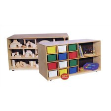 Double-Sided Mobile Storage Unit with Assorted Trays