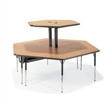 "2-Single Technology Tables with Shelves Ganged Together (84"" x 96"")"