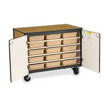 "36"" H Mobile Storage Cabinet with 30 Tote Trays"