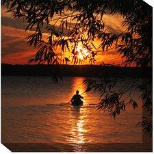 Kayak Sunset Photographic Print on Canvas