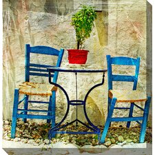 Two Blue Chairs Painting Print on Canvas