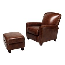 <strong>Opulence Home</strong> Chester Leather Chair and Ottoman