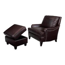 Henry Leather Chair and Ottoman