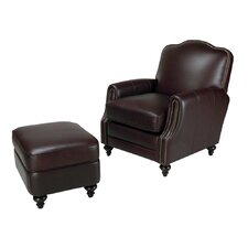 Seville Leather Chair and Ottoman